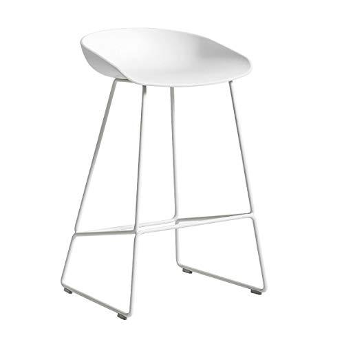 HAY AAS 38 Barhocker niedrig Gestell weiß, weiß Sitzschale Polypropylen Gestell Stahl pulverbeschichtet weiß mit Kunststoffgleitern