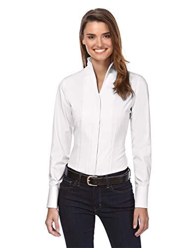Vincenzo Boretti Damen Bluse mit Kelchkragen leicht tailliert 100% Baumwolle bügelleicht Langarm Hemdbluse mit Stehkragen elegant festlich auch für Business weiß 36