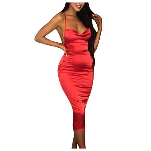 Allegorly Mode Frauen Sexy Slim Camisole Low-Cut ärmelloses Kleid mit offenem Rücken Club Kleid Mode Frauen Sexy Slim Plissee Camisole Low-Cut Minikleid ärmellos Open