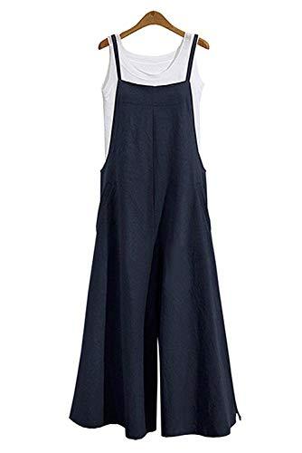 MAGIMODAC Latzhose Leinen Jumpsuit Overall Damen Sommer Mit Tasche Ohne T Shirt 36 38 40 42 44 46 48 50 (Dunkelblau, Etikett XL/EU 40-42)