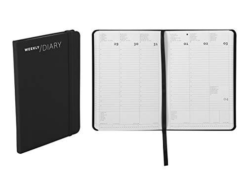 Agenda 2020 settimanale, chiusura a elastico, 11 × 16,5 cm colore nero