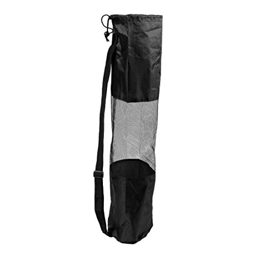 TOOGOO(R) Sacca custodia borsa per tappetino di Yoga Pilato nera portatile centrale in rete