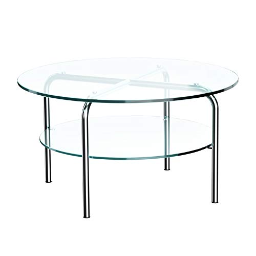 Thonet MR 516/1 Beistelltisch, transparent Klarglas zusätzliche Glasplatte H 38cm Ø 70cm Kunststoffgleiter schwarz Gestell Stahlrohr vechromt