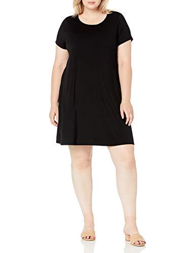 Amazon Essentials Women's Plus Size Short-Sleeve Scoopneck Swing Dress, Black, 1X