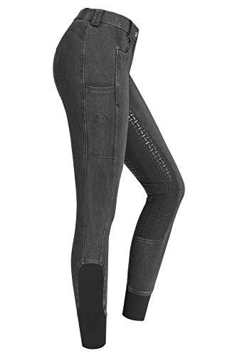 RIDERS CHOICE Damen Jeansreithose mit Silikonvollbesatz und Handytasche - RidersDeal Collection für Reiter, grau, Gr. 36