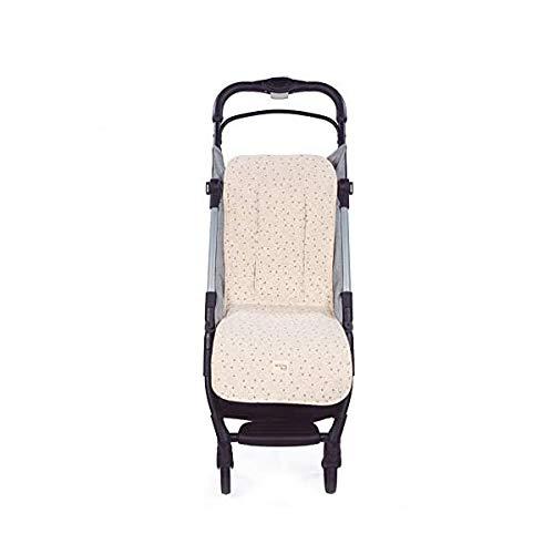 Walking Mum. Colchoneta para silla de paseo Dreamer. Forro para silla de paseo anti-sudoración para el verano. Tejido en Punto. Uso universal. Color Beige. Medidas 35 x 84 cm.