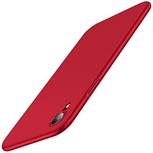 TORRAS für iPhone XR Hülle (Extrem Dünn) mit (2 Stück Schutzglas) Seidig Glatt Matt Hardcase Schutzhülle iPhone XR Hülle Slim Minimalism Stoßfeste Decency Series Handyhülle für iPhone XR - Rot