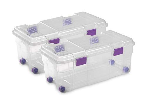 Todo Hogar Caja Almacenaje plástico Transparente con Ruedas Natural - 800x395x340-78 litros (2)