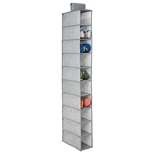 mDesign – Organizador de zapatos para armario con 10 estantes – Organizador de tela para colgar – Colgador de armario para ropa interior, calzado, cinturones y accesorios – Color gris
