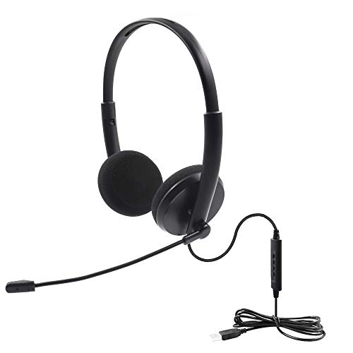 USB Headset Computer,AUELEK Headset PC Gaming Headset mit Mikrofon für Laptop PC, USB Kabel Stereo Kopfhörer mit Lautstärkeregler für Call Center/Büro/Telefonkonferenzen/Online Kurs Chat usw