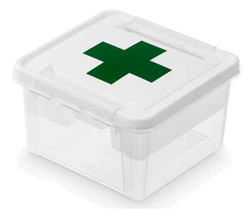 SmartStore boite à pharmacie 8 L, boîte de rangement pour médicaments, boîte pharmacie à utiliser comme kit de secours avec couvercle décoré et clips, en plastique sans BPA, 28 x 28 x 17 cm