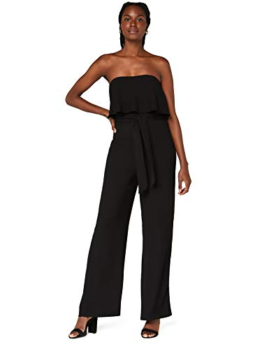Amazon-Marke: TRUTH & FABLE Damen Jumpsuit mit Carmen-Ausschnitt, Schwarz (Black), 34, Label:XS