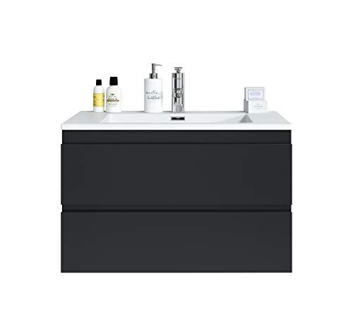 Badezimmer Badmöbel Set Angela 80cm Schwarz - Unterschrank Schrank Waschbecken Waschtisch