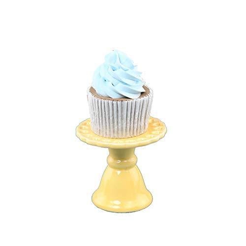 PETAAA Mini Expositores Para Cupcakes, Bandejas De Postre De 3 Pulgadas, Platos Pequeños De Cerámica Coloridos Para Tartas, Mesa De Almacenamiento Para Sándwiches De Cum(Color:amarillo,Size:7.5*6.5cm)