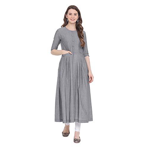 Indian Virasat Grey Colored Cotton Solid Pocket Long Kurta