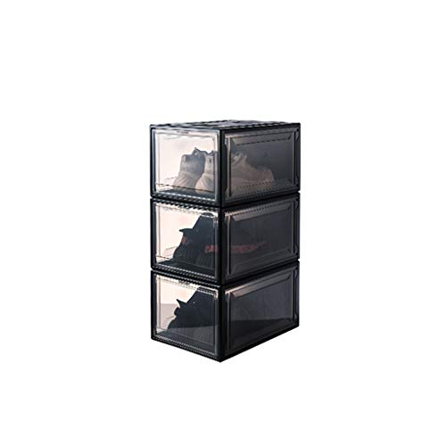 xiannv Shoe box transparent storage shoe cabinet shoe storage box PP environmental protection material anti-oxidation shoe box, a total of 3 shoe boxes Easy Assemble