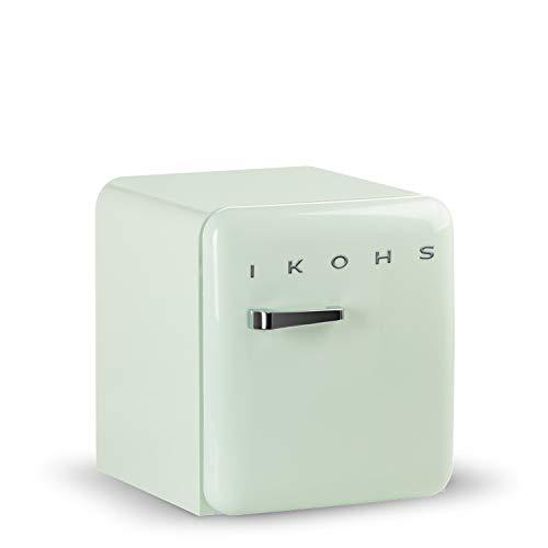 IKOHS Retro Fridge - Frigorífico con diseño, Control de Temperatura Ajustable, Estantes Intercambiables, Estética Vintage de los años 50, Clase Energética A+ (Verde Menta, 50 cm)