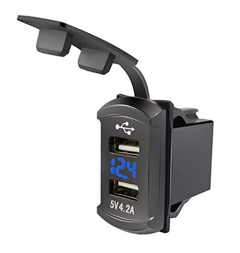 Cargador Rápido de Coche Dual USB ,Impermeable Adaptador de Toma de Corriente Cargador de Coche Doble Puerto con voltímetro para 12V-24V Coche Barco Moto Marina ATV RV