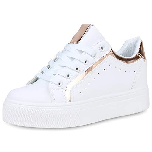 SCARPE VITA Damen Plateau Sneaker Leder-Optik Plateauschuhe Schnürer Metallic Schuhe Lack Freizeit Turnschuhe 191409 Weiss Rose Gold Metallic 38