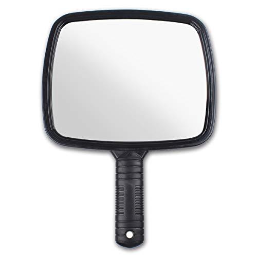 Leeven Espejo de mano Maquillaje Herramienta de corte de pelo para el día a día y para viajar Espejo profesional Peluquero Espejo plástico antideslizante negro Accesorios de baño (paquete de 1)
