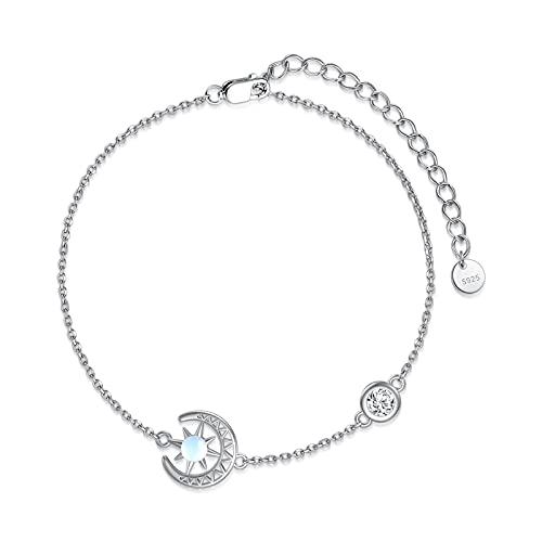Pulsera para mujer con piedra de luna y circonitas, plata de ley 925, regalo para mujeres y niñas