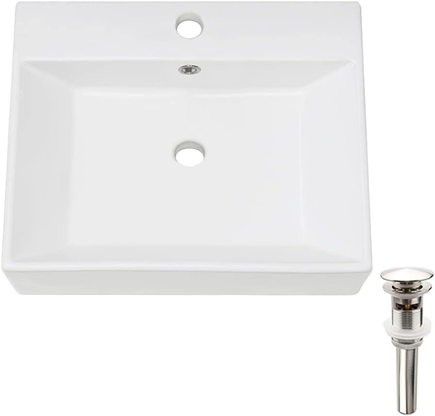 Buy Petushouse Bathroom Vessel Sink And Pop Up Drain Combo Rectangle Above Counter White Porcelain Ceramic Bathroom Vessel Vanity Sink Washing Art Basin Overflow Type Online In Indonesia B085lb88qz
