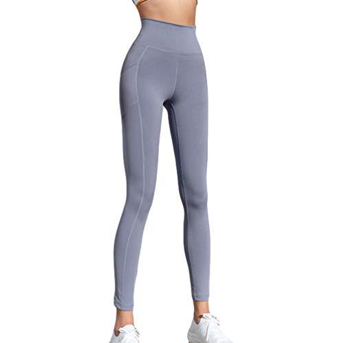 Leggings de Sport Femme Pantalon de Fitness Taille Haute Pants Yoga pour Gym Jogging Gris Violet XL