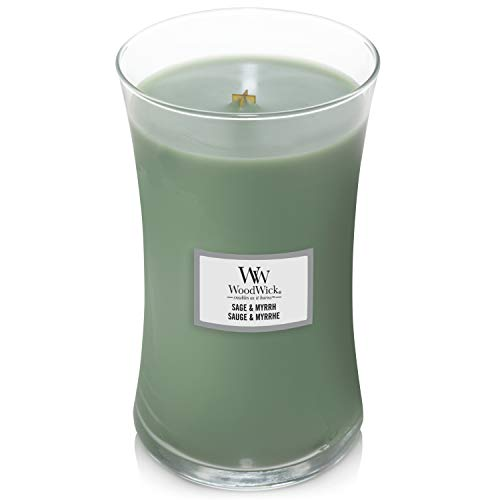 WoodWick Large Hourglass Scented Candle with Crackling Wick | Sage and Myrrh | Up to 130 Hours Burn Time