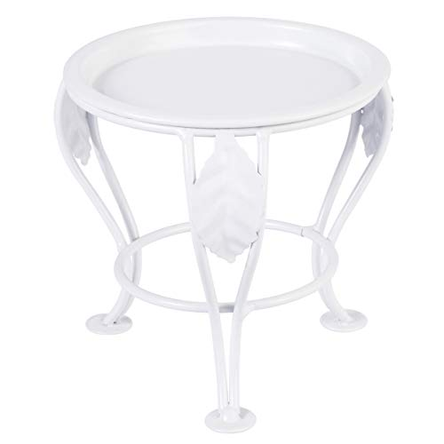 Yardwe Mini Metal Potted Plant Stand for Indoor Or Outdoor Plants Holder Stand Round Iron Art Flowerpot Holder for Garden Bosai 13.5 x 13.5 x 13 cm (White)
