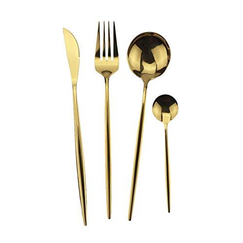 4 PCS Juego de vajillas negro Cubiertos de acero inoxidable Cubiertos de cena de arco iris Conjunto de cuchillo Tenedor Cuchara de té Conjunto de vajillas de cocina (Color : 4Pcs Gold)