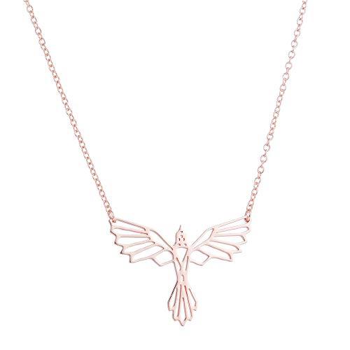 KRMZB Colgante Fénix Collar geométrico alas Animales Volando pájaro Colgante, Oro Rosa