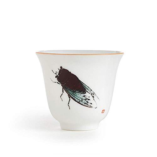 N\C Taza de té de cerámica hecha a mano de porcelana esmaltada taza maestra 55 ml de porcelana blanca taza de té Drinkware decoración del hogar Tieguanyin Spirits Cup