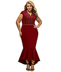 Red #2 Short Sleeve Rhinestone Plus Size Long Cocktail Dress