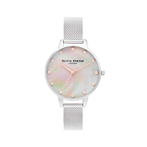 Olivia Burton Damen Analog Quarz Uhr mit Edelstahl Armband OB16SE07