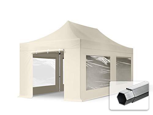 TOOLPORT Faltzelt Professional 3x6 m - mit 4 Seitenteilen (Panoramafenster) Faltpavillon ALU Pavillon Partyzelt Creme