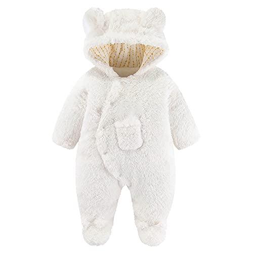 Newborn Baby Cute Bear Ear Infant Warm Thick Snowsuit Hooded Footie Romper Jumpsuit Baby Winter Coat White
