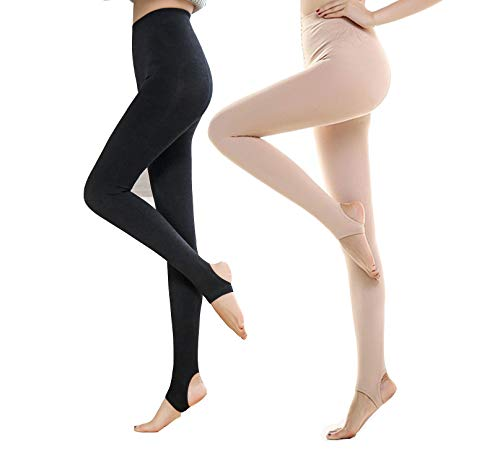 Yulaixuan Womens 2 Paar Strumpfhosen 120 Denier Trampel Füße Verstärkte blickdichte Strumpfhose nackte Farbe Footless Steigbügel Leggings (Strumpfhose 1 Haut 1 schwarz)