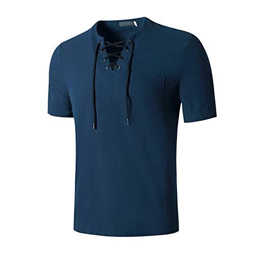SSBZYES Herren T-Shirt Herren Baumwolle und Leinen T-Shirt V-Ausschnitt T-Shirt Herrenmode T-Shirt Baumwolle und Leinen T-Shirt Hip Hop V-Ausschnitt Yoga Top