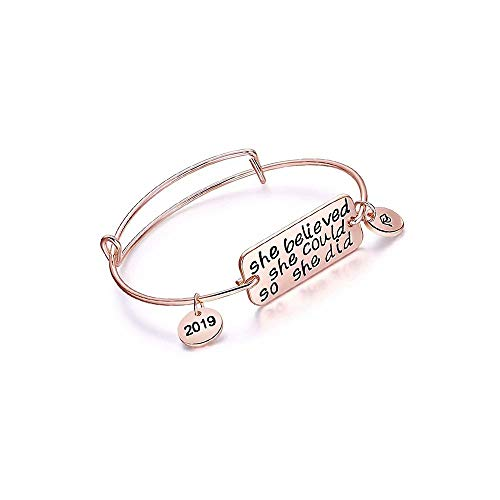 JinYiny Armbänder inspirierende Geschenke für Abschlussfeier inspirierende Armband Manschette Armreif Zitat weiter gehen Edelstahl Armband Ermutigung Schmuck für Teen Girls Kids Men