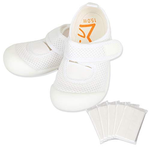 [ハッピークローバー] ムーンスター はだしっこ【マジックテープタイプ】 日本製 メッシュ素材 上履き 足の健康を守る歩育シューズ 靴下履きにも対応 (17.5cm、ホワイト)