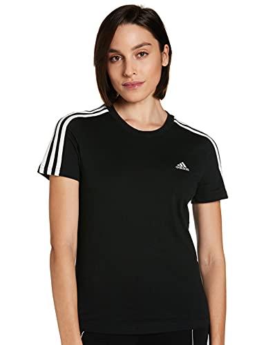 adidas W E Lin Slim T Camiseta de Manga Corta, Mujer, Negro (Black/White), M