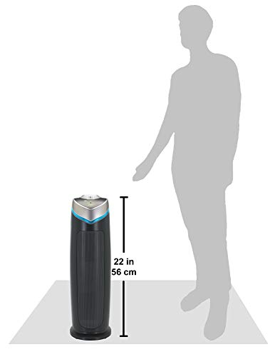 Germ Guardian True HEPA Filter Air Purifier with UV Light Sanitizer, Eliminates Germs, Filters Allergies, Pollen, Smoke… 13 4-in-1 air purifier for home: True HEPA air filter reduces up to 99.97% of harmful germs, dust, pollen, pet dander, mold spores, and other allergens as small as .3 microns from the air Kills germs: UV-C light helps kill airborne viruses such as influenza, staph, rhinovirus, and works with Titanium Dioxide to reduce volatile organic compounds Traps allergens pre filter traps dust, pet hair, and other large particles while extending the life of the HEPA filter. Bulb wattage is 55 watts