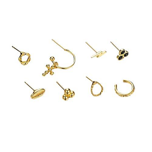 Hunpta - Juego de pendientes de aro para mujer, pequeños aretes de aro con colgante de cruz, aros, pendientes de oreja, juego de joyería