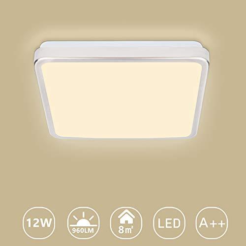VINGO LED Deckenleuchte, 960LM, 3200K, Warmweiß, 12W Deckenlampe für Bad Schlafzimmer Küche Balkon Korridor Büro Esszimmer Wohnzimmer