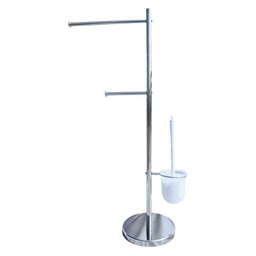 homeXpert 141308 Brosse de WC avec Porte-Serviettes, Métal, Argent, 20x36x80 cm