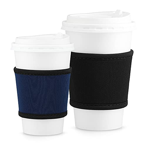 kwmobile 2x Kaffeebecher Sleeve - Neopren Hitzeschutz Manschette für Kaffee to go Becher - für 200 bis 700 ml Trinkbecher - Schwarz Dunkelblau