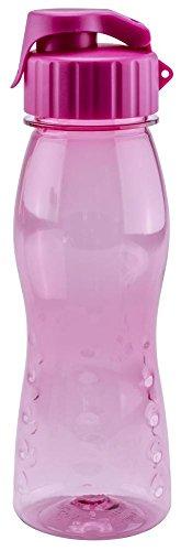 Culinario Trinkflasche flip'S aus Kunststoff, 500 ml, in pink, mit Silikon-Dichtungsring, Schraubverschluss, Hängeöse, Griffmulden, geschmacksneutral