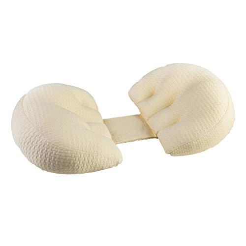 EVR Coussin d'allaitement de Qualité, Oreiller de Grossesse, Fibre 3D à Sept Trous en Spirale Coussins d'allaitement Taie avec Velcro Haute Qualité,Beige