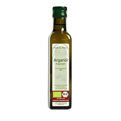 Bio Arganöl Speiseöl nativ kaltgepresst Arganadir aus Marokko, 250ml ✔ 100% rein Vegan ✔ Bio-Arganöl für Küche, Salate & Nahrungsergänzung ✔ Gourmet-Speiseöl ✔ Fair Trade