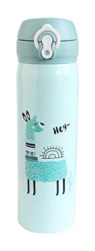 Emartbuy 500 ml Lama Acciaio Inossidabile Assoluto Isolamento Termica Caldo Freddo Borraccia Bottiglia d'Acqua a Prova di Perdite con Apertura della Molla Fliptop Bambini Carina Cool - Mare Verde